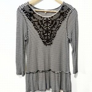 Democracy Top Size Large in Black & White Stripe